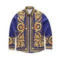 Высокое качество 2016 новый уличная мода бренд мужской с длинными рукавами рубашки Корона цветы распечатать повседневная burderry camisa рубашка