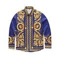 Alta calidad 2016 nueva marca de moda streetwear manga larga de Los Hombres camisas burderry Corona de flores de impresión de los hombres ocasional camisa camisa