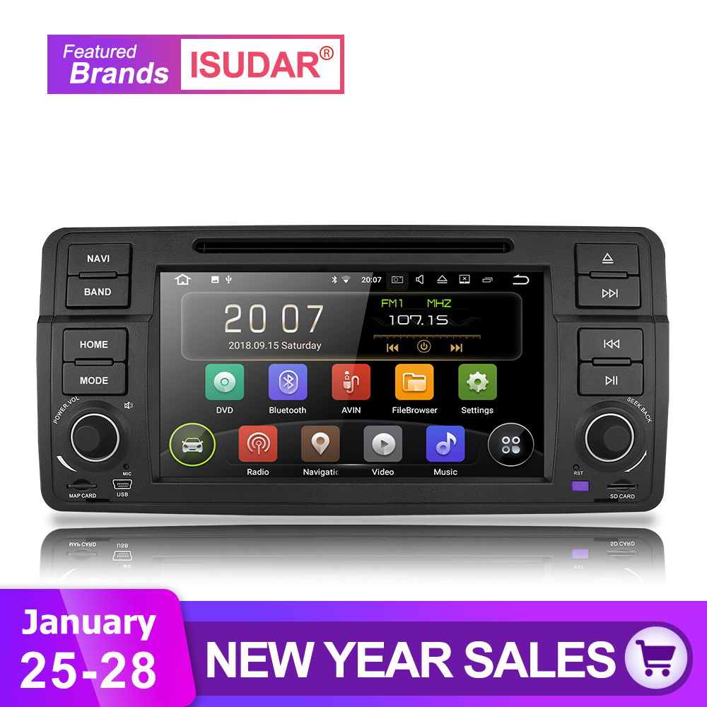 Isudar Car Multimedia player Android 8.1.0 GPS 1 Din DVD Automotivo For BMW/E46/M3/MG/ZT/Rover 75 Wifi Radio FM 4 Cores 16GB DSP