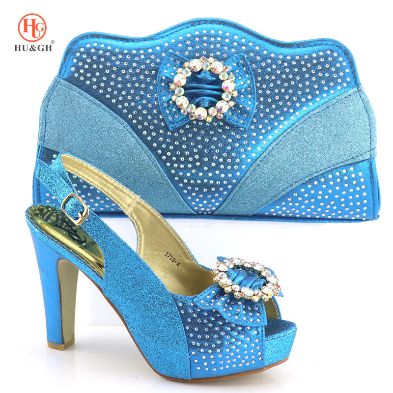 купить Sky Blue African Women Italian Shoe and Bag Set Decorated with Rhinestone Matching Shoes and Bags for African Party Wedding Shoe по цене 3971.05 рублей