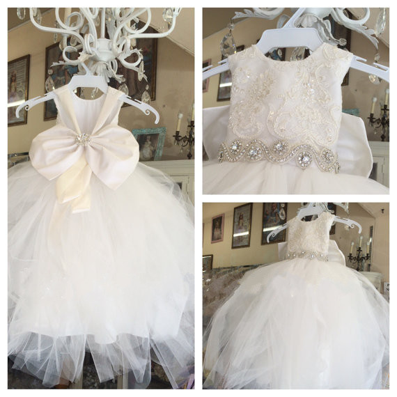New Arrival Ivory White Bride Flower Girl Dress for Wedding with big Bow Girls Communion Vestidos Longo Custom Made Size вечернее платье vivian s bride dress v vestidos vestido vestidos vb001