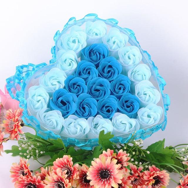 24Pcs Rose Flower Soap Heart Scented Bath Body Petal Rose Flower Soap Wedding Decoration Gift For Lovers 5