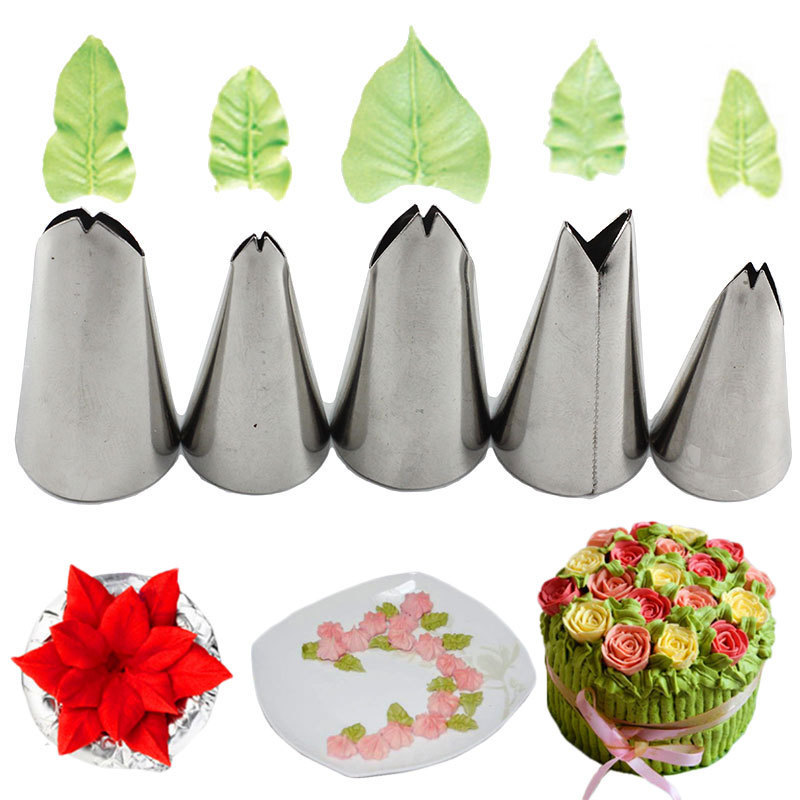Mujiang 5 Pcs Set Leaves Nozzles Stainless Steel Icing Piping Nozzles Tips Pastry Tips For Cake Decorating Pastry Fondant Tools