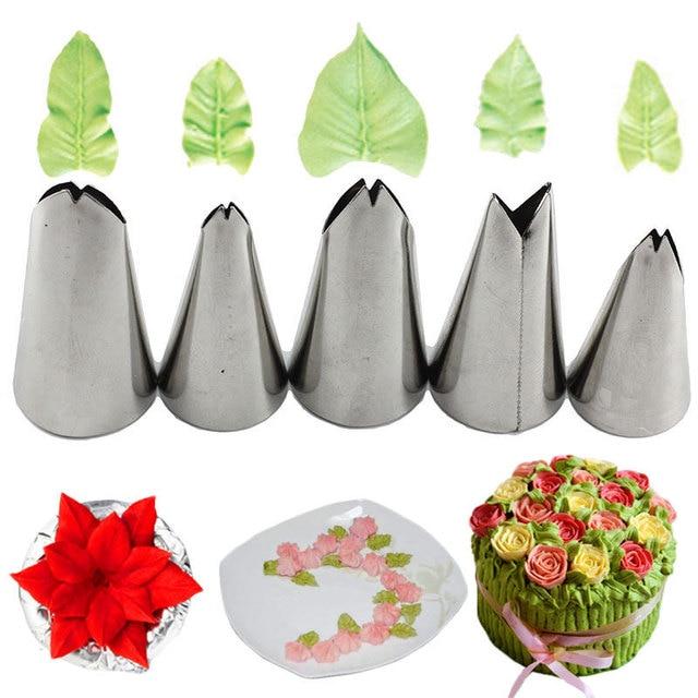 Mujiang 5 Pcs Set Bladeren Nozzles Rvs Icing Piping Nozzles Tips Gebak Tips Voor Cake Decorating Pastry Fondant Gereedschap