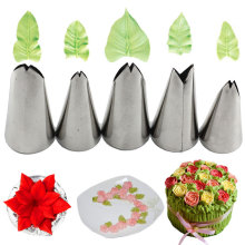 Mujiang 5 Pcs Set Leaves Nozzles Stainless Steel Icing Piping Tips Pastry For Cake Decorating Fondant Tools