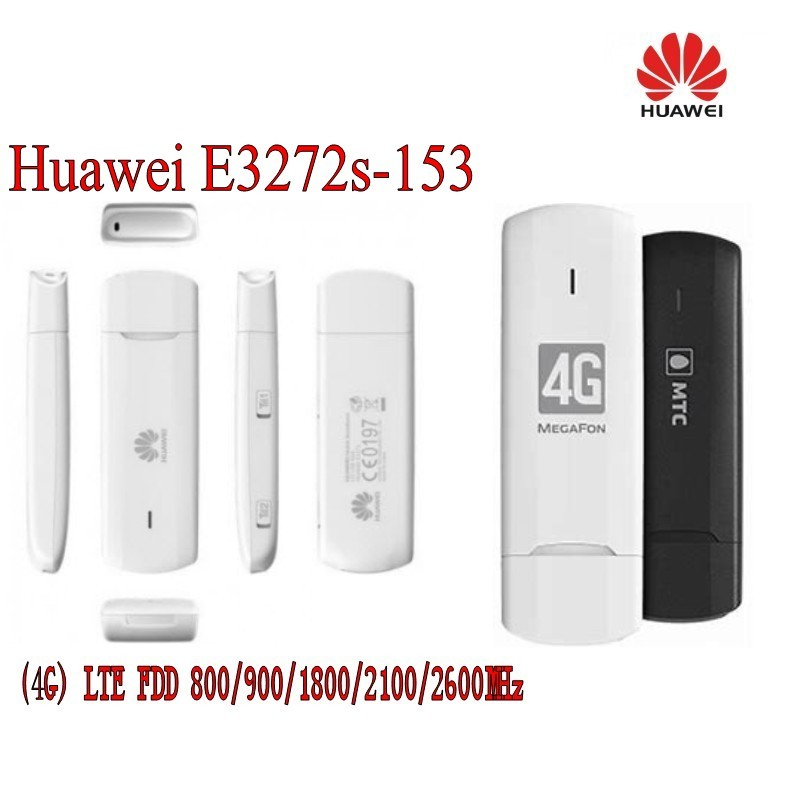 Unlock 4g universal modem USB Dongle Huawei E3272s-153 LTE 4G USB Modem plus 2pcs antenna unlocked huawei e3372 e3372s 153 150mpbs 4g lte usb dongle 4g lte antenna 35dbi crc9 for e3372 4g lte fdd modem