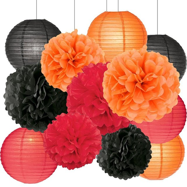 Halloween party decorations kit tissue paper pom poms paper lanterns halloween party decorations kit tissue paper pom poms paper lanterns orange black red theme halloween decoration mightylinksfo