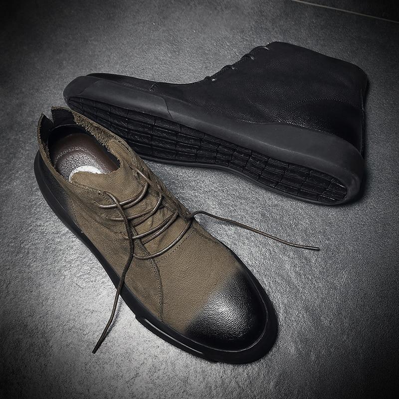 Qualité Aransue Martin En Cheville Pour Top Véritable Lace Quatre Boot Chaussures Bottes vert Hommes Noir Up Saisons Vache Hommes Cuir 5rxxRfXw