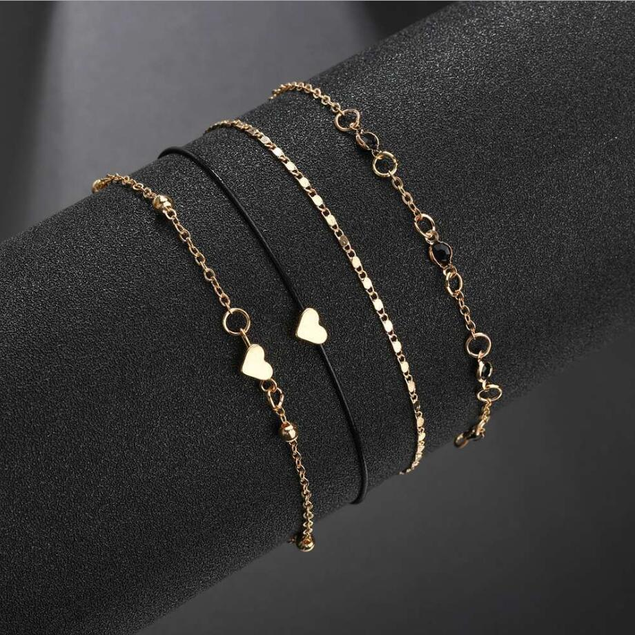 4pcs Set Trendy Gold Color Anklets For Women Fashion 2019 Bohemian Heart Link Chain Anklet Female Foot Jewelry Hot Cool Gift in Anklets from Jewelry Accessories