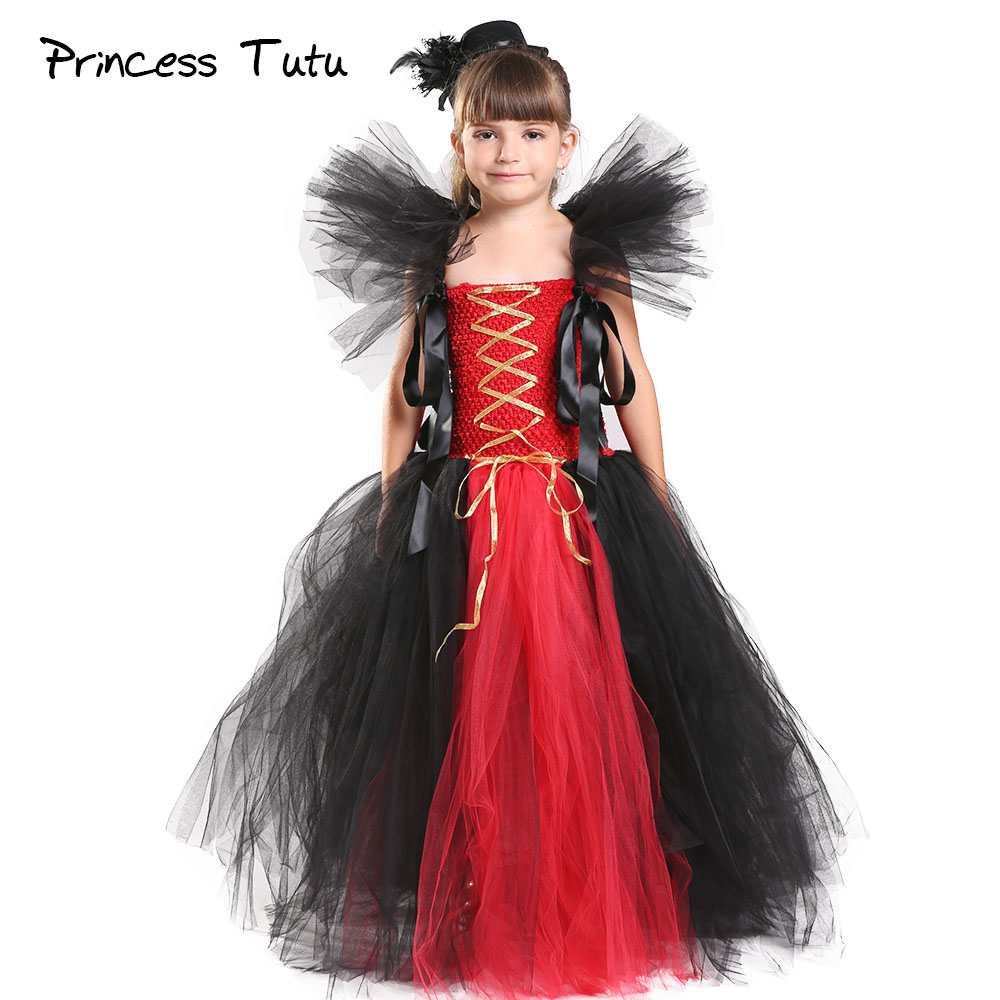 Halloween Girl Vampire Inspired Tutu Dress Black Red Pirate Girl Birthday Party Cosplay Queen Tutu Dresses For Kids Photo Props halloween vampire mask white black red