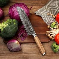 SUNNECKO 7 Inch Damasucs Santoku Knife Japanese VG10 Steel Blade Original Wood Handle Chef S Slicing