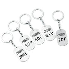 LOL Stainless Steel keychain ADC MID TOP SUP JUNGLE Letter Logo Metal Pendant Key Ring Key Holder for Men Game Fans Gifts