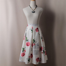 Women Peony Floral Prints Ball Gown Skirt Summer Autumn Tutu High Waist Midi Pleated Skirts