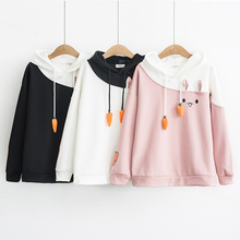 Japanese Women Hoodies Anime Lovely Pullover Kawaii Rabbit Sweatshirt Warm Fleece Cute Bunny Graphic Outerwear Pink Black Hoodie