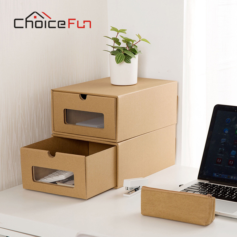 CHOICEFUN Closet Cabinet Clear Visible Drop Front Shoes Organizer Container  Foldable Kraft Paper Cardboard Shoe Box For Storage In Storage Boxes U0026 Bins  From ...