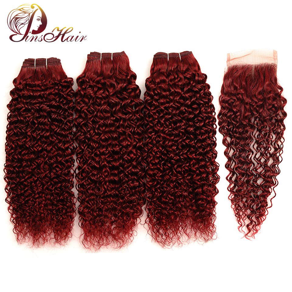 Pinshair Hair Red Bundles With Closure Burgundy 99J Brazilian Kinky Curly Human Hair 3 Bundles With
