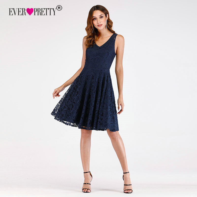 Short   Bridesmaid     Dresses   2018 Ever Pretty EP03065NB New Arrival A-line V-Neck Navy Blue Lace Party Gowns For Wedding Knee Length