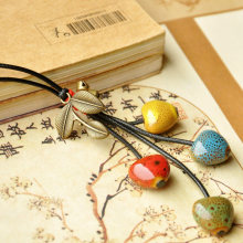 Ceramic Heart Necklaces Leaf Pendants Choker Long Tassel Sweater Chain Beads Charm Bronze Bell Leather Rope Women Jewelry(China)