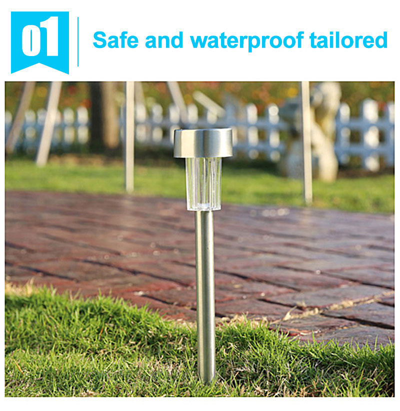 Outdoor Solar Light Colorful Changing Solar Lawn Light Garden Lamp Waterproof Stainless Steel Yard Path Lawn Lamp 12
