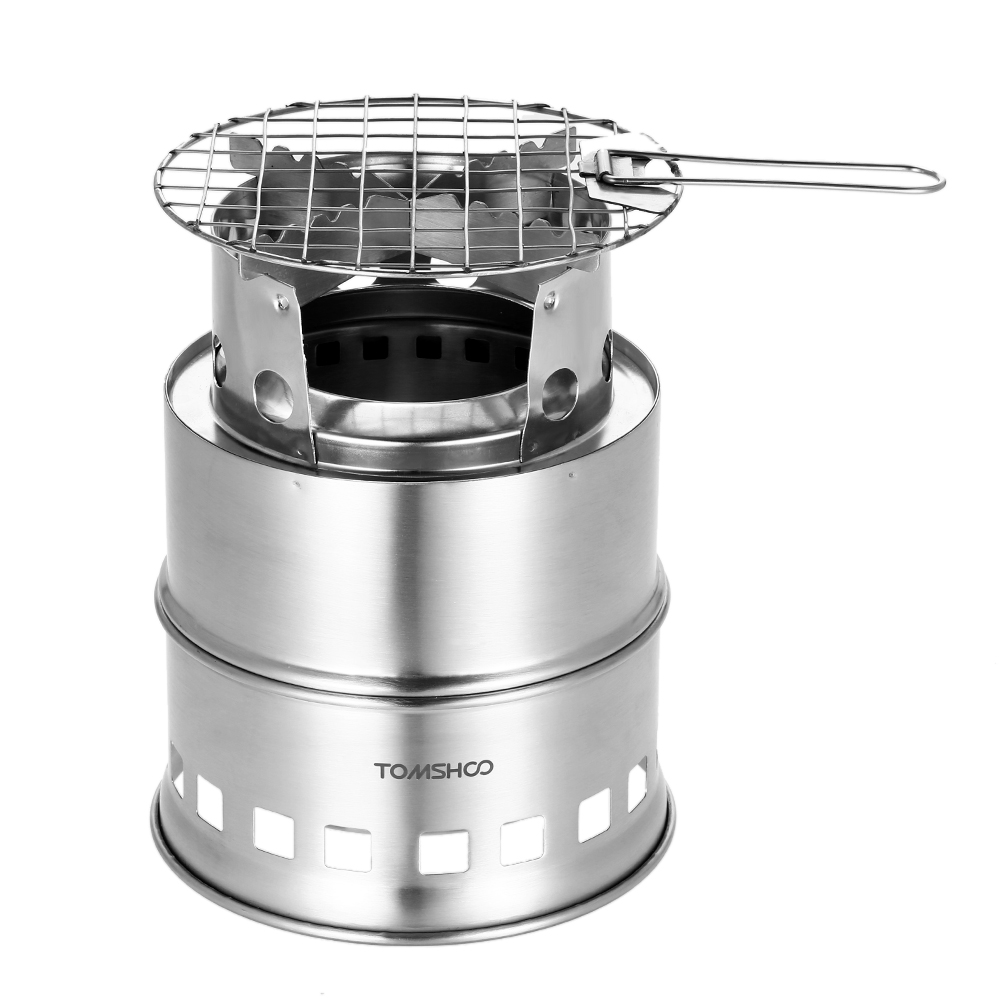 sliver MElnN Camping Stove Can Use Firewood Coal and Solid alcohol as Fuel Sources Folding Stainless Steel Stove Alcohol Stove for Outdoor Hiking Picnic BBQ