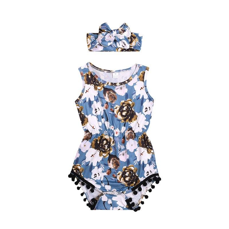 0-24 M Pasgeboren Baby Meisjes Bloem Romper Jumpsuit Hoofdband Outfits Gedrukt Baby Meisjes Kleding Set Blauw