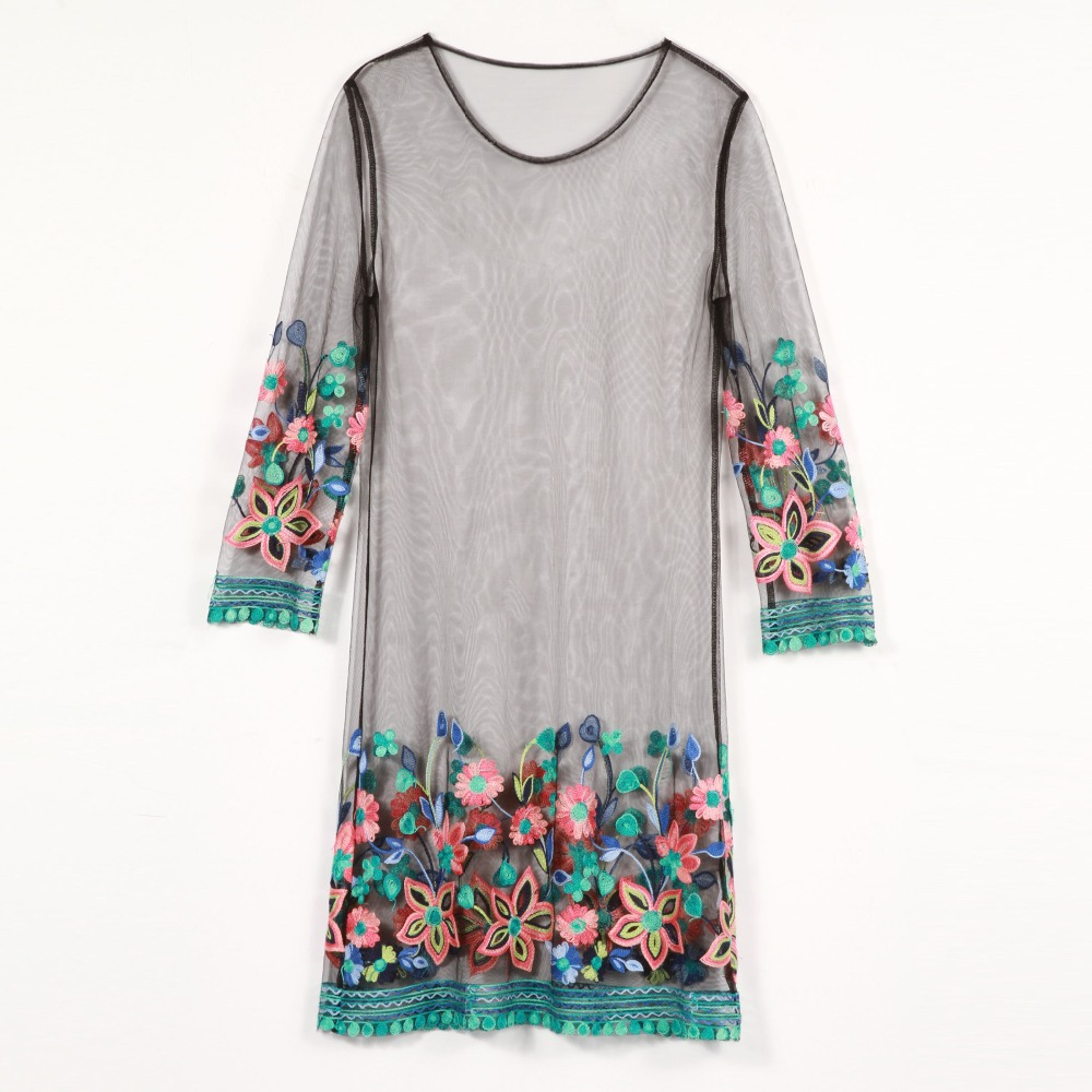 Women mesh dress floral embroidery see-through straight o-neck dress fashion mini loose tulle pullover beach summer dress