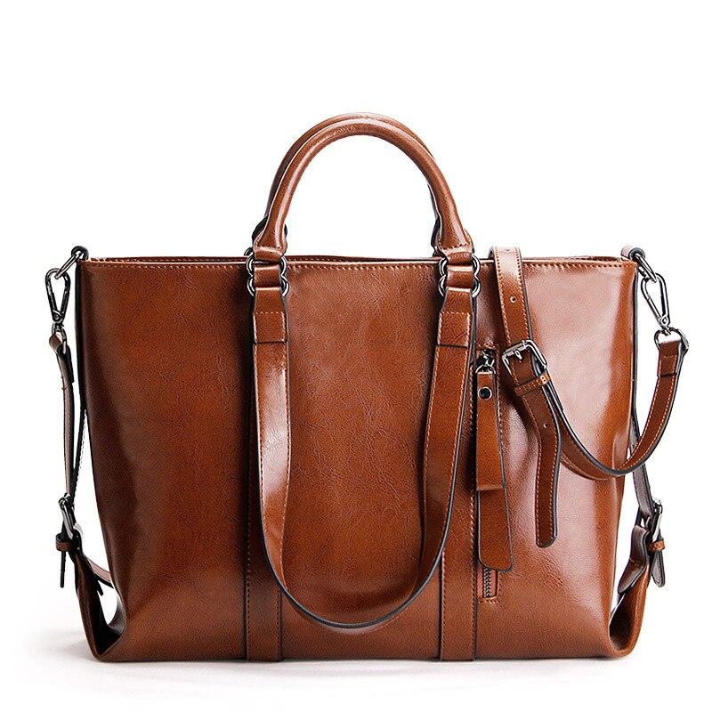 New Oil wax Genuine leather women handbags fashion Leisure big shopping bag Cowhide High capacity Ladies Tote shoulder bags