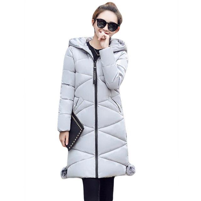 US $29.21 31% OFF|Plus Size 4XL Dames Mode Winterjassen 2017 Casual Parka Mujer Uitloper Vrouwelijke Hooded Katoen gewatteerde Lange Slanke Jassen