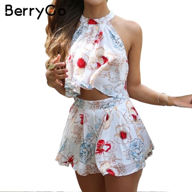 BerryGo Halter chiffon flor imprimir jumpsuit romper mangas Elegante mulheres macacão curto verão playsuit Plissado praia ocasional