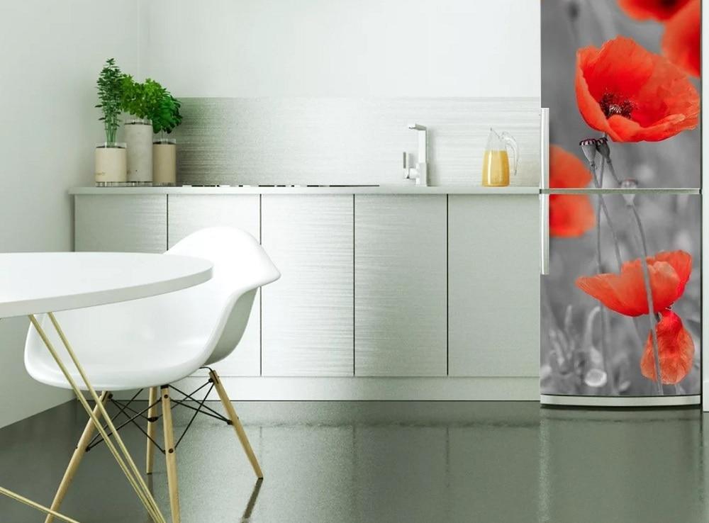 US $17.6 39% OFF|DIY modern poppy Waterproof SelfAdhesive Refrigerator  Sticker Door Cover Wallpaper kitchen accessories wall sticker poster-in  Wall ...