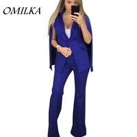 OMILKA 2017 Autumn Women Women Cape Single Breasted Blazer Pant Suit 2 Piece Set Casual Blue
