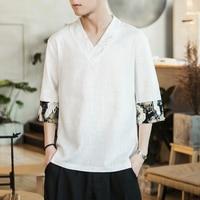 Linen Men Shirt Chinese style Slim Short Sleeve 2019 Summer Men Shirts Streetwear Breathable Asian Plus size 5XL