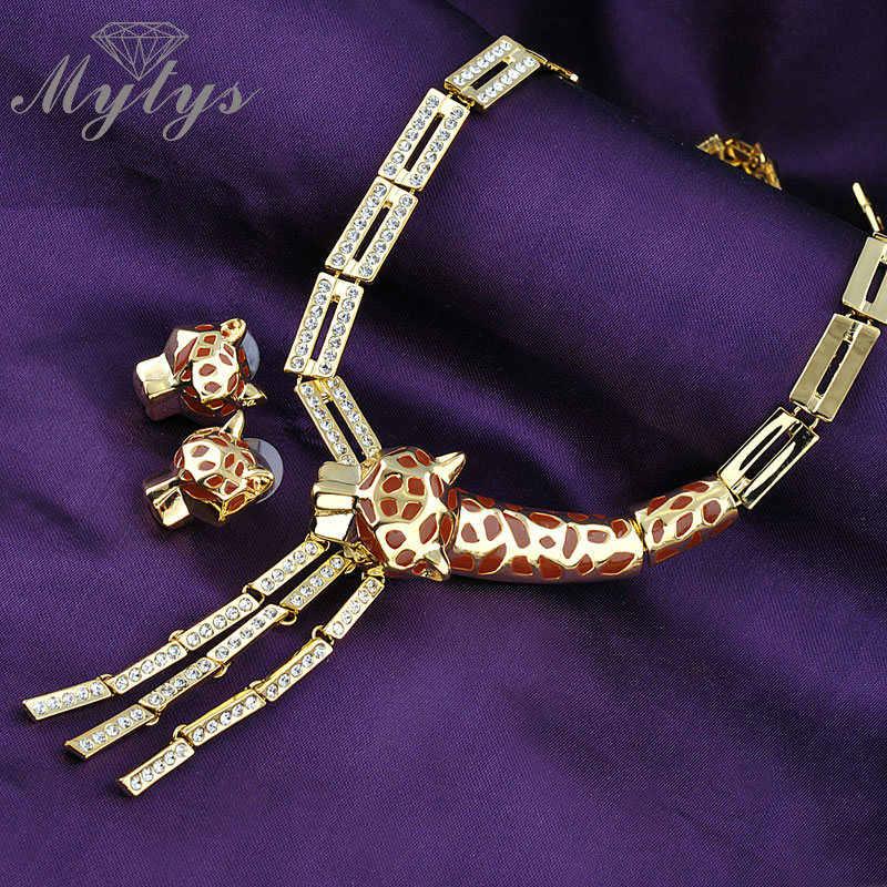 Mytys Animal Jewelry sets leopard vòng cổ và hoa tai bộ Thời Trang GP Zircon Đồ Trang Sức N1330