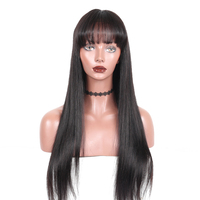 360 Lace Frontal Wig With Bang Straight Lace Front Human Hair Wigs For Women Pre Plucked With Baby Hair Black Rosa Queen Remy