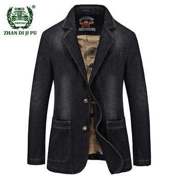 2018 Autumn men's casual brand cowboy cotton black blazer coats man spring afs jeep fashion denim blue blazers slim suits jacket - DISCOUNT ITEM  35% OFF All Category