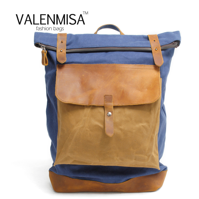 VALENMISA New Backpack Men Canvas Backpack Large Capacity Bag For Travel Backpack Fashion Hydration Notebook Laptop Backpack