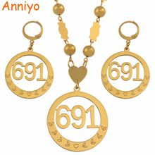 Anniyo Micronesia Big Pendant Beads Necklaces Earrings sets for Womens Round Ball Chains 691 Jewelry Gifts #047621(China)
