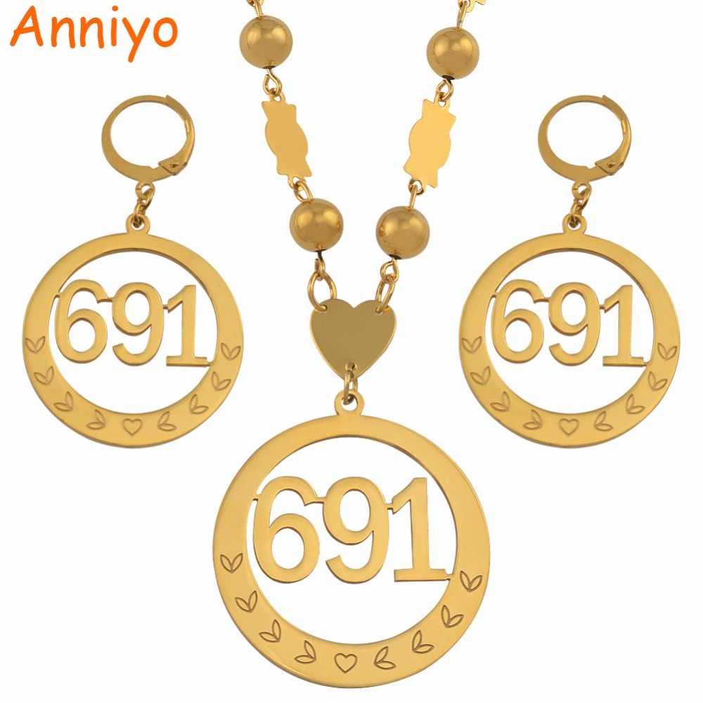 Anniyo Micronesia Big Pendant Beads Necklaces Earrings sets for Womens Round Ball Chains 691 Jewelry Gifts #047621