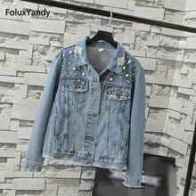 Embroidered Flares Jackets Women Plus Size 3 4 XL Casual Hole Vintage Denim Jacket Blue Outerwear KKFY05