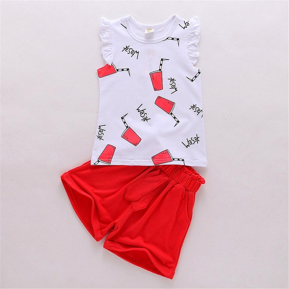 Yilaku Girls Odzież Ustawia Fashion Girl Lato bez rękawów Odzież - Ubrania dziecięce - Zdjęcie 5