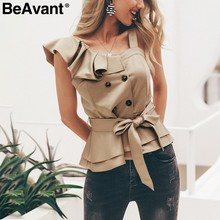 BeAvant One shoulder ruffle women blouse 2019 Summer top peplum sash silk camisoles tank Elegant party feminine blouses blusas(China)