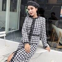 Luxury Brand 2 Pcs Set Women Skirt Sets Autumn Winter Plaid Pearls Tweed Woolen Jacket and Skirt Suit Sets