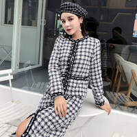 Luxury Brand 2 Pcs Set Women Skirt Sets Autumn Winter Plaid Pearls Tweed Woolen Jacket and Skirt Suit Sets