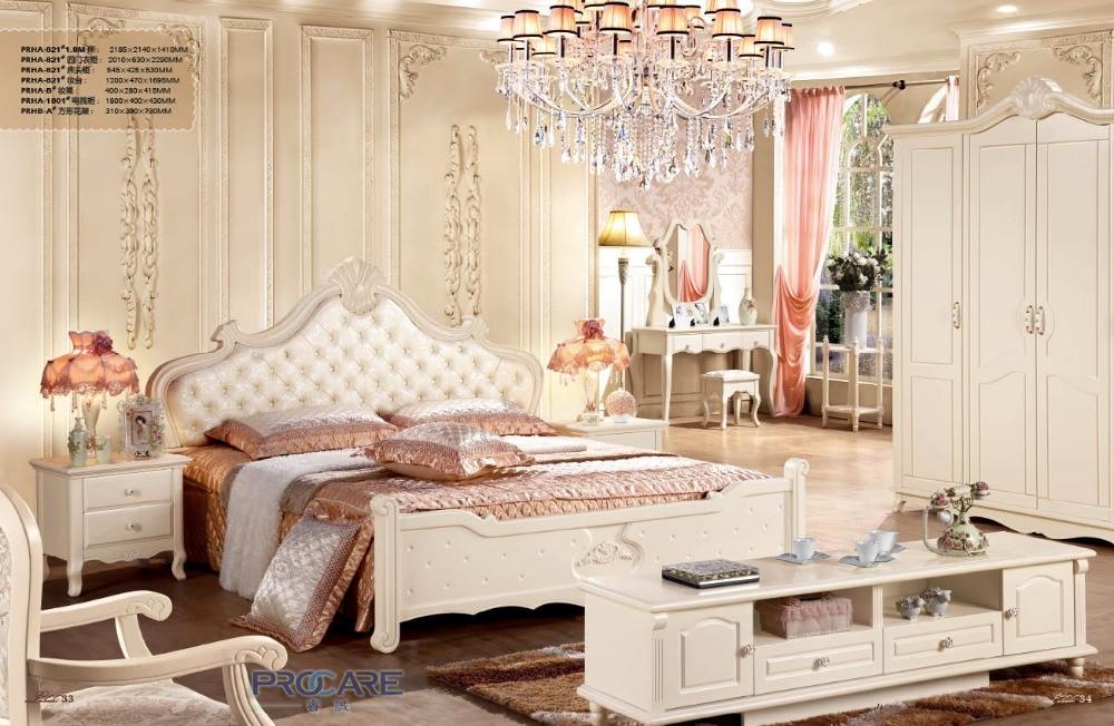 Buy Top Selling Wooden Bedroom Furniture Set With Bed 4 Doors Wardrobe
