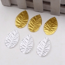 200pcs Gold Tree Leaf Artificial Flowers Leaves For Wedding Home Decoration Needlework DIY Fleurs Scrapbooking Craft Accessories