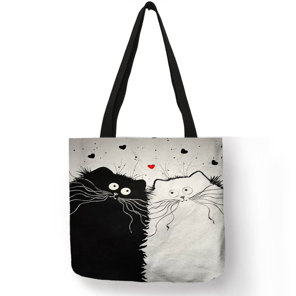 Customized Cute Cat Printing Women Handbag Linen Tote Bags with Print Logo Casual Traveling Beach Bags 9