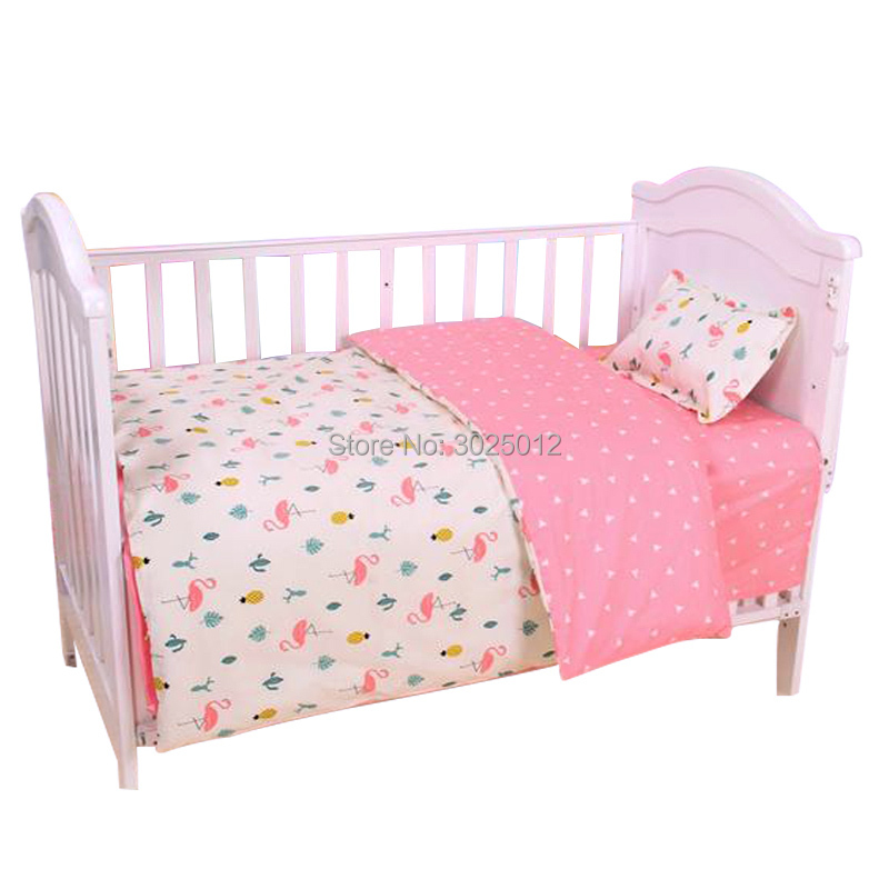 Image 3 - 3Pcs Baby Bedding Set Cartoon Cotton Baby Crib Sets Baby Cot Set Including Pillowcase Flat Sheet  Duvet Cover Without Filling-in Bedding Sets from Mother & Kids