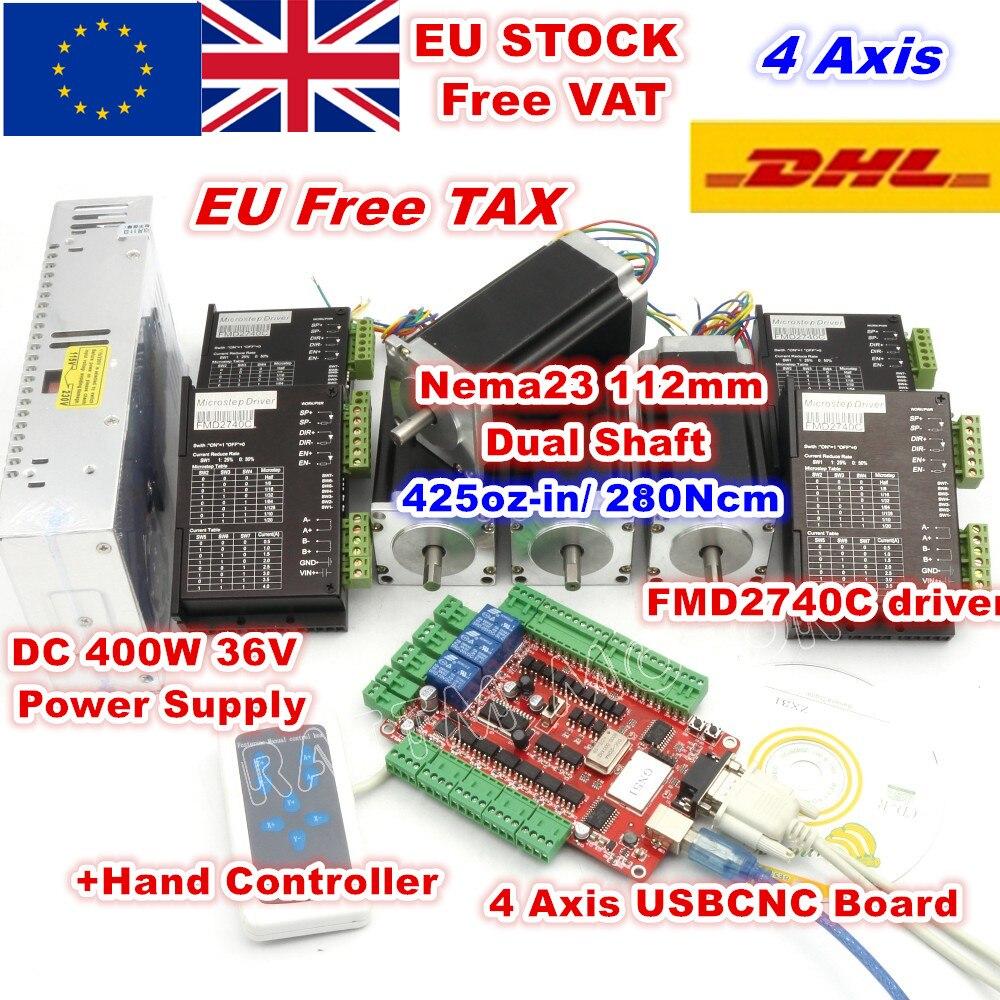 [RU/EU/USA Delivery] 4 Axis Nema23 112mm Stepper Motor Dual Shaft 425oz-in 3A+Motor Driver 50VDC 4A 128 microstep driver