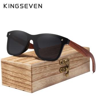KINGSEVEN 2019 Wood Rimless Polarized Men's Sunglasses Square Frame Sun glasses Women Sun glasses Male Oculos de sol Masculino