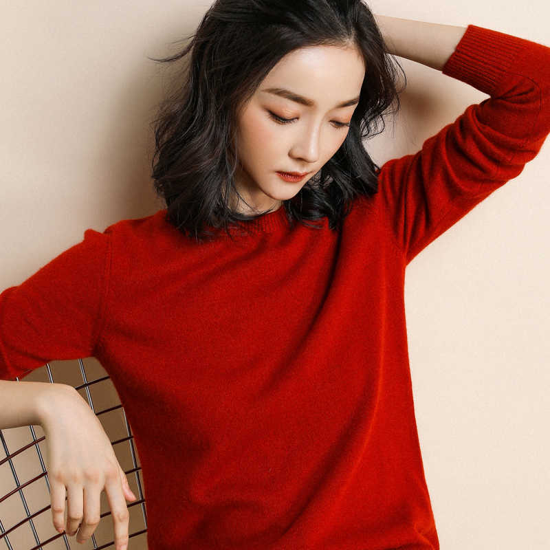 2018 new autumn and winter women's round neck sweater knit bottoming Korean version of loose solid color women's sweater